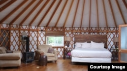Pictured here is a yurt at a glamping resort. Glamping allows you to enjoy nature but with more comfort -- much more!