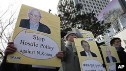 南韓抗議者反對政府和美國的北韓政策。