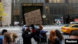 2016年11月10日川普大厦外的抗议者