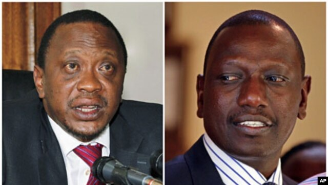 A combination photograph shows Kenya's finance minister Uhuru Kenyatta (L) in his office in the capital Nairobi in a December 15, 2010 file photo, and former Kenyan cabinet minister William Ruto standing inside his house after hearing the news from the In