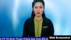 """Nữ phát thanh viên tên Thu Thủy thông báo rằng Đài truyền hình Bình Thuận ngừng chiếu phim """"Tân Bến Thượng Hải"""" hôm 16/7."""