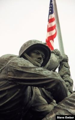 Felix de Weldon's sculpture of Marines raising the American flag on Mount Suribachi - Marine Corps Iwo Jima Memorial, Arlington, Virginia