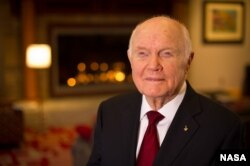 Sen. John Glenn poses for a portrait shortly after doing live television interviews from the Ohio State University Union building, Feb. 20, 2012, in Columbus, Ohio.