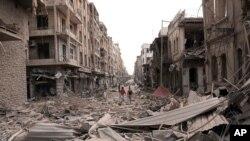 3일 시리아 관영 사나 통신이 공개한 알레포시의 연쇄 폭발 현장.