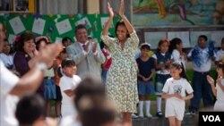 Algunos de los vestidos usados por la actual primera dama Michelle Obama, también están en exhibición.