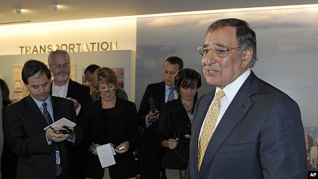 US Defense Secretary Leon Panetta speaks to reporters after touring the National September 11 Memorial & Museum in New York, September 6, 2011.