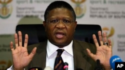 South Africa's sports minister Fikile Mbalula gestures as he speaks during a news conference in Johannesburg, South Africa, June 3, 2015.