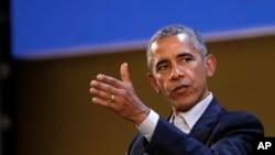 美國前總統奧巴馬在米蘭召開的全球食品創新峰會上講話 (2017年5月9日)