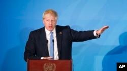 Thủ tướng Anh Boris Johnson phát biểu tại Đại Hội đồng LHQ, New York, ngày 23/09/2019.