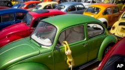 "In this April 21, 2017, file photo, Volkswagen Beetles displayed during the annual gathering of the ""Beetle club"" in Yakum, central Israel. (AP Photo/Oded Balilty, File)"