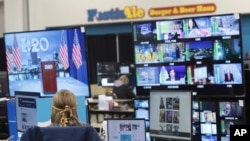 The control room where live feeds are managed is pictured at the virtual DNC at the Wisconsin Center, Aug. 17, 2020, in Milwaukee. The convention, once expected to draw 50,000 people, is now taking place virtually because of covid concerns.