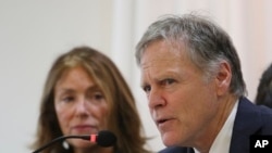FILE - Fred Warmbier, with his wife, Cindy, speaks about their son, Otto Warmbier, who died after being released by North Korea, during a press conference in Seoul, South Korea, Nov. 22, 2019.