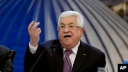 Perezida wa Palestina Mahmoud Abbas inyuma y'inama ku butegetsi bwa Palestina mu ntara ya Cisjordaniya. kuwa 22/01/2020.