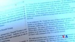 2016-08-09 美國之音視頻新聞: 50名共和黨國安專家與一名參議員拒絕支持川普