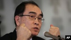 Thae Yong Ho, a former minister at the North Korean Embassy in London who came to Seoul with his family in 2016, speaks during a press conference at the Seoul Foreign Correspondent Club in Seoul, South Korea, Wednesday, Feb. 19, 2020. (AP Photo/Ahn…