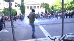 Polisi Bubarkan Massa jelang Pidato Trump dan Jam Malam