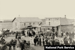 Residents of Nicodemus, Kansas, gather on Washington Street in 1855. (National Park Service photo)
