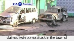 VOA60 Africa - Somalia: Over 30 killed in in al-Shabab claimed twin bomb attack in the town of Baidoa