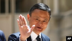 FILE - Founder of Alibaba group Jack Ma arrives for the Tech for Good summit in Paris, France, May 15, 2019. Ma has not been seen in public for two months.
