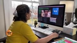 وائس آف امریکہ اردو کی ٹیم گھر سے کام میں مصروف