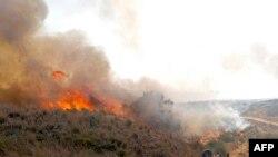 Pekerja Israel dari Nature and Parks Authority mencoba memadamkan api yang disebabkan oleh balon api yang diluncurkan dari Jalur Gaza, dekat Be'eri Kibbutz, 13 Agustus 2020. (Foto: AFP/Jack Guez)