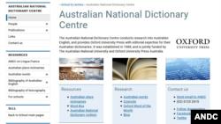 A screenshot of the Australian National Dictionary Centre's main website. (Courtesy photo, ANDC)