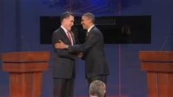 美国总统奥巴马和竞选对手罗姆尼在第一轮辩论中交锋