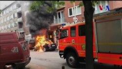 Autos quemados en continuación de protestas en el G-20