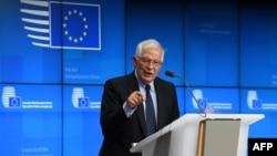 Visoki predstavnik Evropske unije Žozep Borelj tokom zajedničke konferencije za štampu Savjeta za spoljne poslove u sjedištu u Briselu, 12. jula 2021.