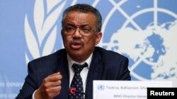 世界衛生組織總幹事譚德塞在於瑞士日內瓦舉行的聯合國關于冠狀病毒情況的新聞發布會上發言。 (2020年1月29日)