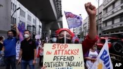 菲律賓民眾在首都馬尼拉抗議政府攻擊人權活動人士(2021年3月8日)