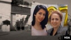 صبا کردافشاری در کنارش مادرش، راحله احمدی (راست) دو زندانی معترض به حجاب اجباری
