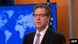 U.S. Ambassador-at-Large for International Religious Freedom Sam Brownback presents the 2018 International Religious Freedom Report at the State Department in Washington, June 21, 2019.