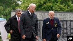 President Joe Biden arrives at a Memorial Day event at Veterans Memorial Park, at the Delaware Memorial Bridge, in New Castle, Delaware, May 30, 2021.