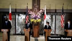 美國國務卿布林肯與國防部長奧斯汀2021年3月16日在東京出席2加2會議(路透社)