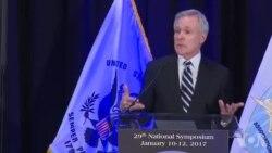 美国海军部长马伯斯2017年1月11日谈南中国海问题原声视频