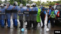La policía de Nicaragua ha sido la institución que ha tomado las oenegés a las cuales se les canceló la personalidad jurídica en 2018. [Foto Houston Castillo, VOA].