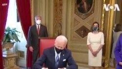 ԱՄՆ նախագահ Ջո Բայդընը իր երդմնակալության արարողությունից հետո Կոնգրեսի նախագահի աշխատասենյակում ստորագրեց իր առաջին հրամանագրերը