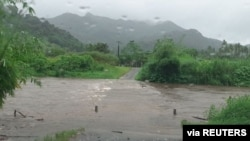 The Bagata Crossing floods on Vunivesi Road in Savusavu, as Cyclone Yasa passes through Fiji, Dec. 17, 2020, in this photo obtained from social media.