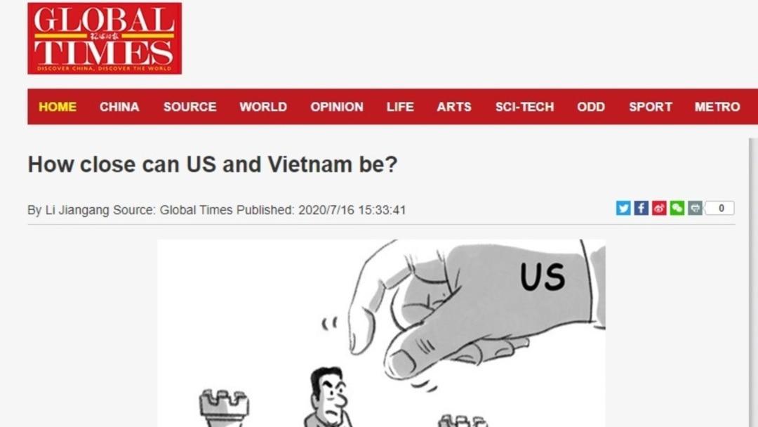 Hoàn Cầu Thời Báo: VN sẽ 'trắng tay' nếu đu dây Mỹ tăng cường sức mạnh ở  Biển Đông