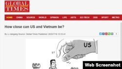 """Bài báo """"Mỹ và Việt Nam thân cỡ nào?"""" trên Hoàn cầu Thời báo của Trung Quốc."""