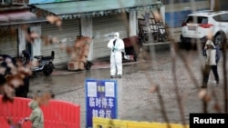 FILE - A worker in a protective suit is seen at the closed seafood market in Wuhan, Hubei province, China, January 10, 2020.
