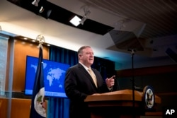 FILE - Secretary of State Mike Pompeo speaks at a news conference at the State Department in Washington, Nov. 18, 2019.