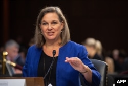 """Former US Assistant Secretary of State for European and Eurasian Affairs Victoria Nuland testifies before the Senate Intelligence Committee during a hearing on """"Policy Response to Russian Interference in the 2016 US Elections"""" on Capitol Hill in…"""