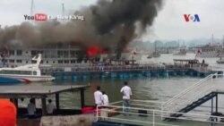 Tàu du lịch bốc cháy ở Vịnh Hạ Long