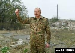 Azerbaijan's President Ilham Aliyev addresses the media as he visits Fuzuli and Jabrayil districts in the region of Nagorno-Karabakh, Nov. 16, 2020. (Official website of President of Azerbaijan/Handout via Reuters)