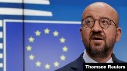 샤를 미셸 유럽정상회의 의장이 지난달 19일 EU 본부에서 벨라루스 사태 관련 기자회견을 했다.