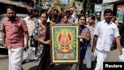 سبراملا مندر میں عورتوں کے داخلے کے خلاف احتجاج، 2 جنوری 2019