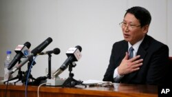 FILE - Kim Jung-uk, a South Korean Baptist missionary, speaks during a news conference in Pyongyang, North Korea.