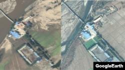 중국 접경 회령시 인근의 홍수 피해 후(왼쪽)와 전 위성사진. 다리 아래 강물이 크게 불었고, 논밭이 토사로 뒤덮여 있다. 구글어스 이미지.